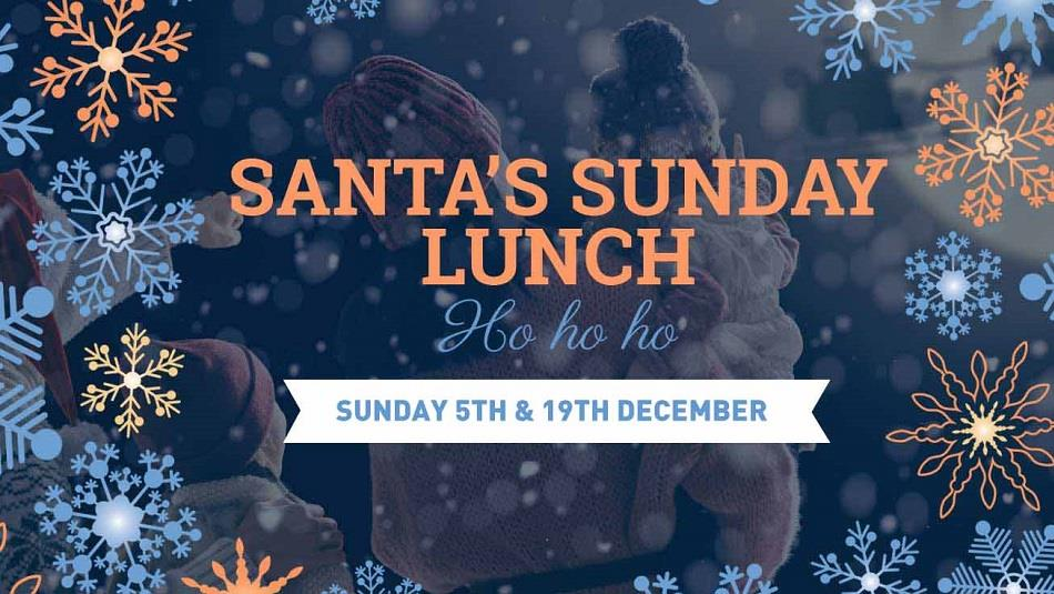 Santa's Sunday Lunch, snowflakes, stars, blue background