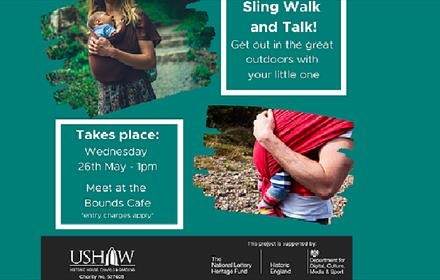 Sling Walk and Talk at Ushaw. Images of parents holding their babies whilst walking in the grounds.