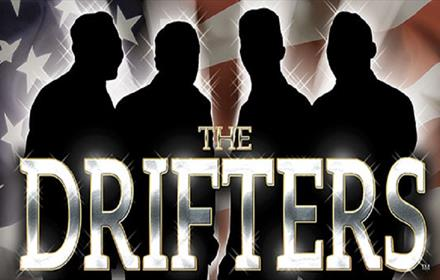 The Drifters: silhouette against a background of the American Flag