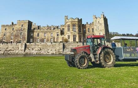 Tractor puller trailer in front of Raby Castle