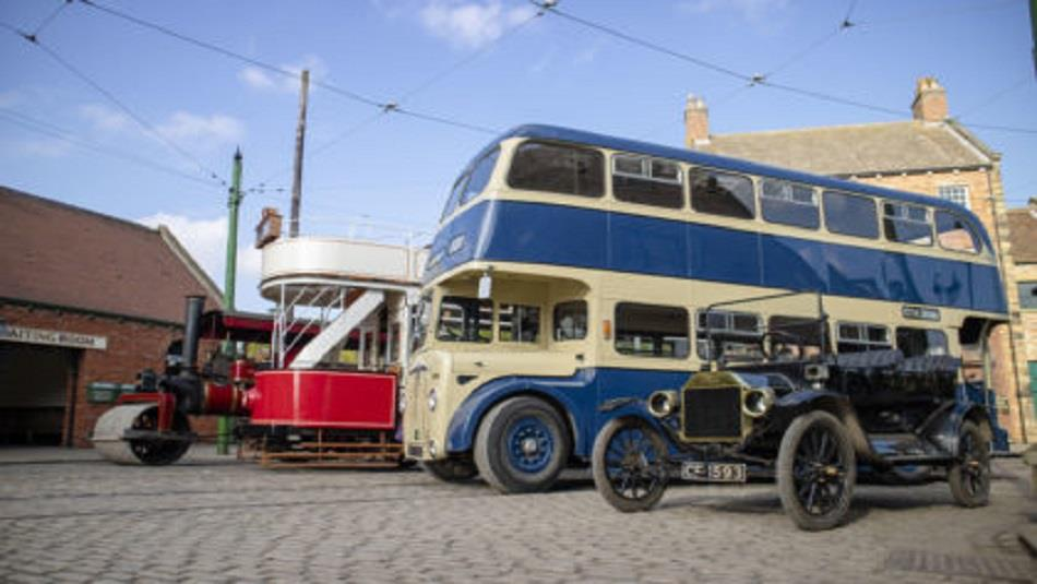 Transport Weekend, Beamish. Image of traditional buses and cars.