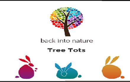 Back Into Nature: Tree Tots Poster containing an image of 3 colourful rabbits and a tree