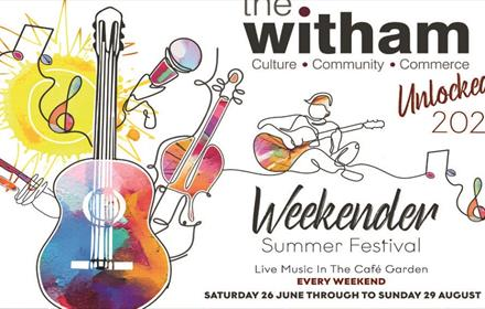 The Weekender Summer Festival Poster: illustration of a multicoloured guitar, treble clef and microphone.