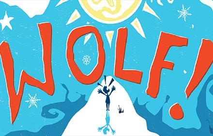 Wolf! written in orange on a blue background, sun, stars
