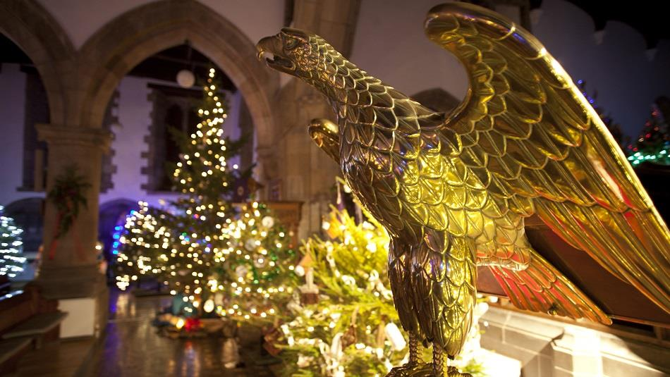 Christmas trees, bronze eagle