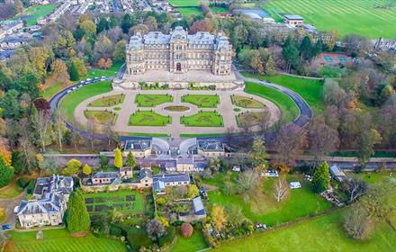 Aerial photo of the bowes museum and grounds