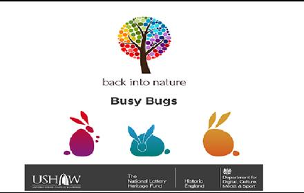 Busy Bugs Poster: image contains 3 colourful rabbits and a tree.