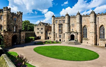 The Courtyard of Durham Castle, showing the Gatehouse and Great Hall and Garden Stairs