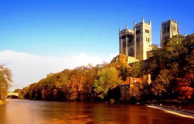 Durham Cathedral riverside in Autumn