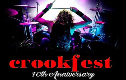 Crookfest poster: image of drummer on stage