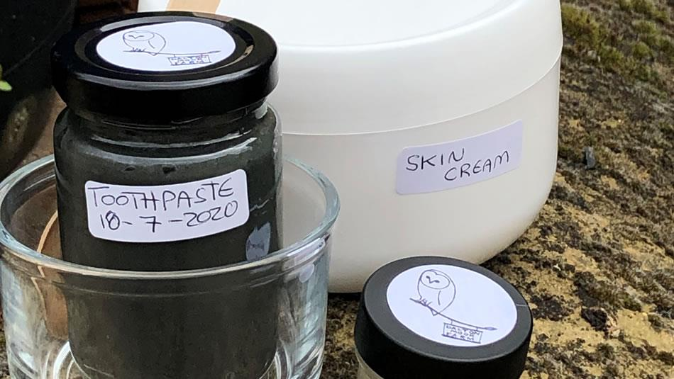 Local produce, toothpaste and skin cream. Natural toiletries