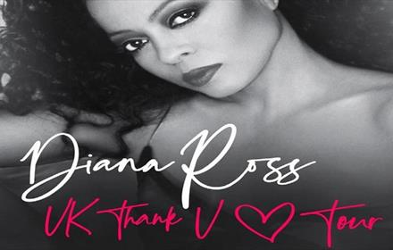Black and white image of Diana Ross, as a poster for her Thank you Summer Tour