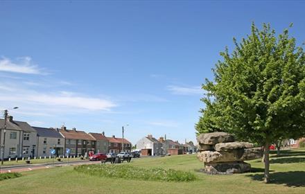 Fishburn front street, Tree, village green, houses, road