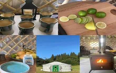 Fitness Retreat opportunity: poster showing candles, healthy food and a yurt.