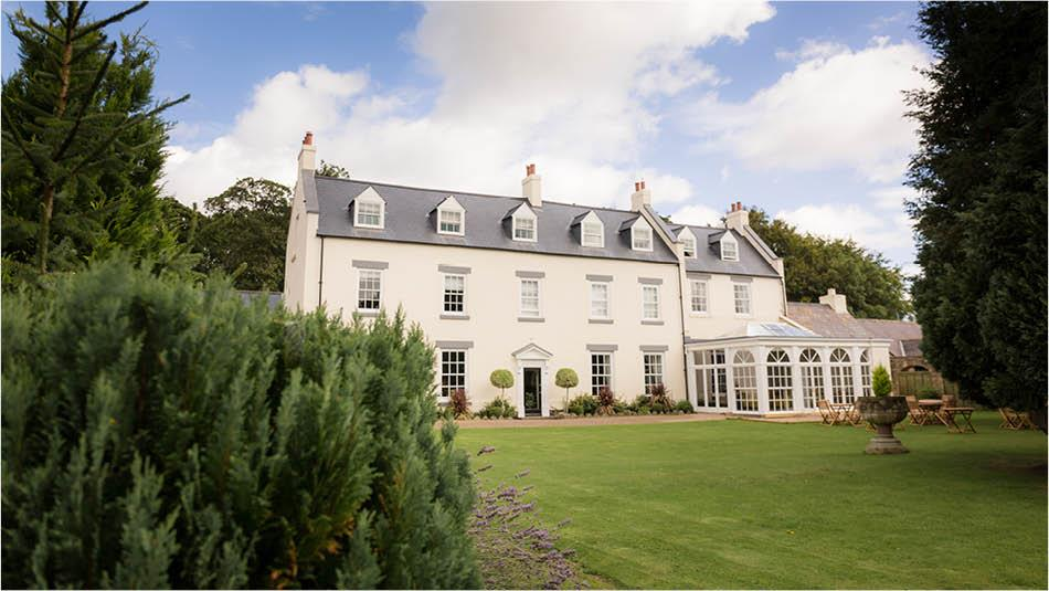 The garden at Hallgarth Manor House Hotel in County Durham