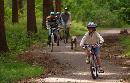 Family cycling in Durham