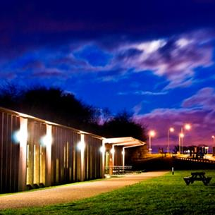 Hardwick Park Visitor Centre at night