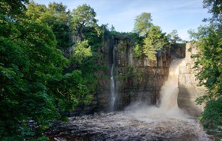 High Force Waterfall, blue skies