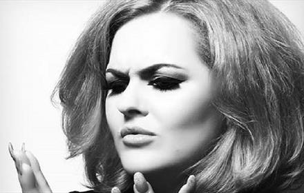 Black and white photo of Adele tribute performer