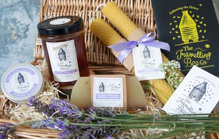 Basket of bee wax and honey related products