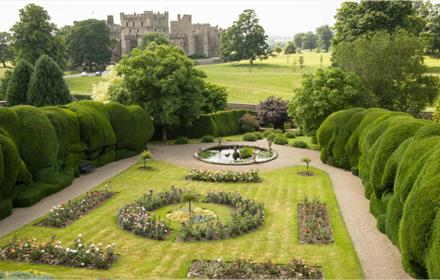 Raby Castle surronded by walled gardens and deer park.