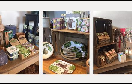Items for sale in the Stables Shop, including Sweets, kitchen utensils, mugs