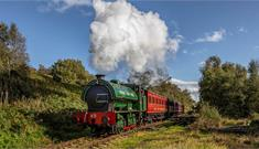An historic steam train on Tanfield Railway in County Durham.