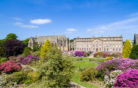Ushaw College and grounds on a bright, clear day, surrounded by purple shrubs.