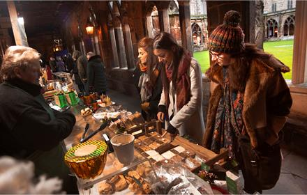 Christmas stall in cloisters of Durham Cathedral