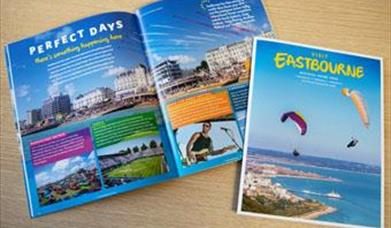 inside the 2020 visit Eastbourne holiday guide and front cover