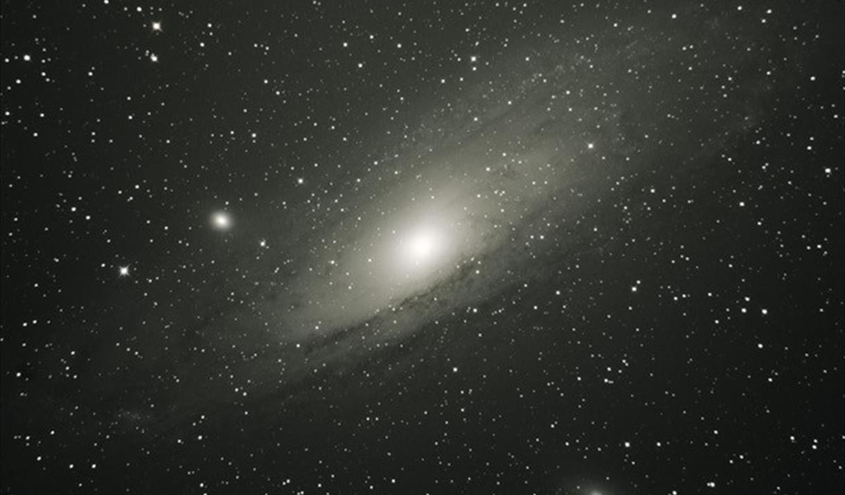 View of a galaxy through telescope