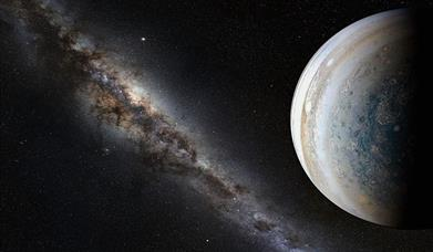 Jupiter and stars in space