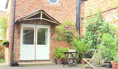 The Cottage entrance and private courtyard at Carpenter's Cottage, Pocklington, East Yorkshire.