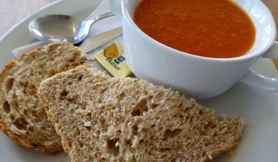 Soup and bread from the Spurn Discovery Centre cafe, in East Yorkshire