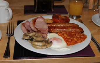 A full English breakfast at Sunflower Lodge in East Yorkshire.