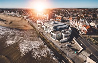 Bridlington Spa from the air. This building houses the theatre, events & conference centre and also the Tourist Information Centre in Bridlington, Eas
