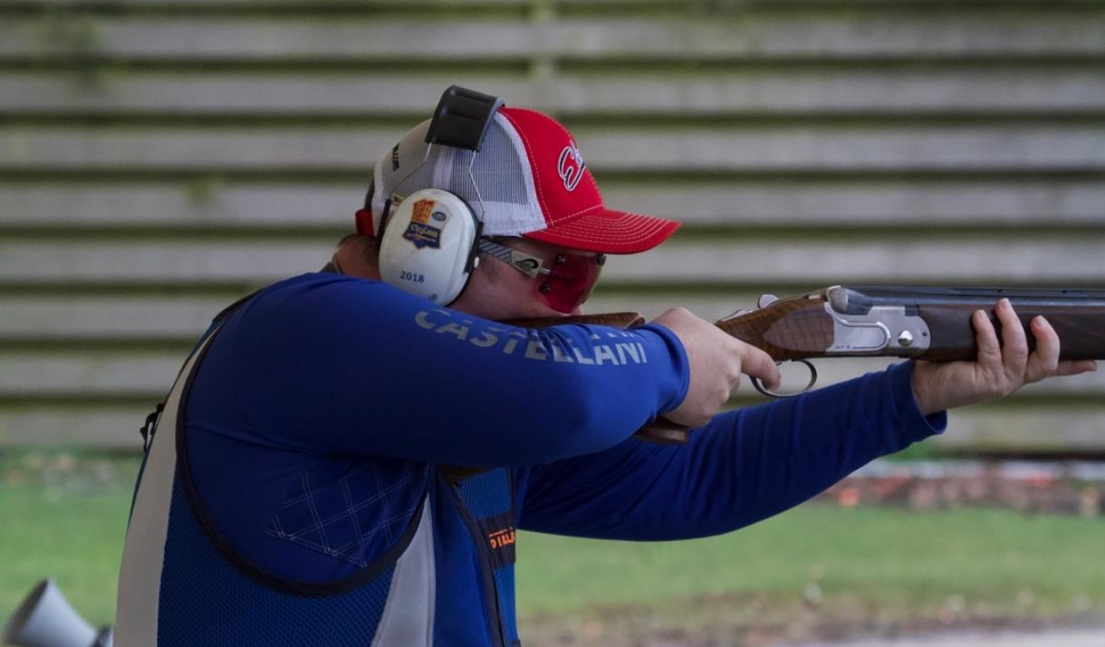 An image of a competitor shooting clays