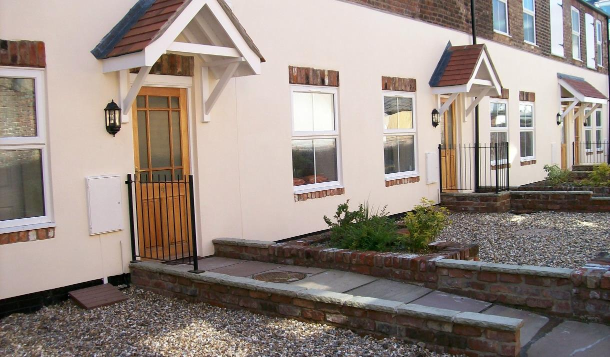 The front door and pathway leading up to Contemporary Cottage holidays in East Yorkshire