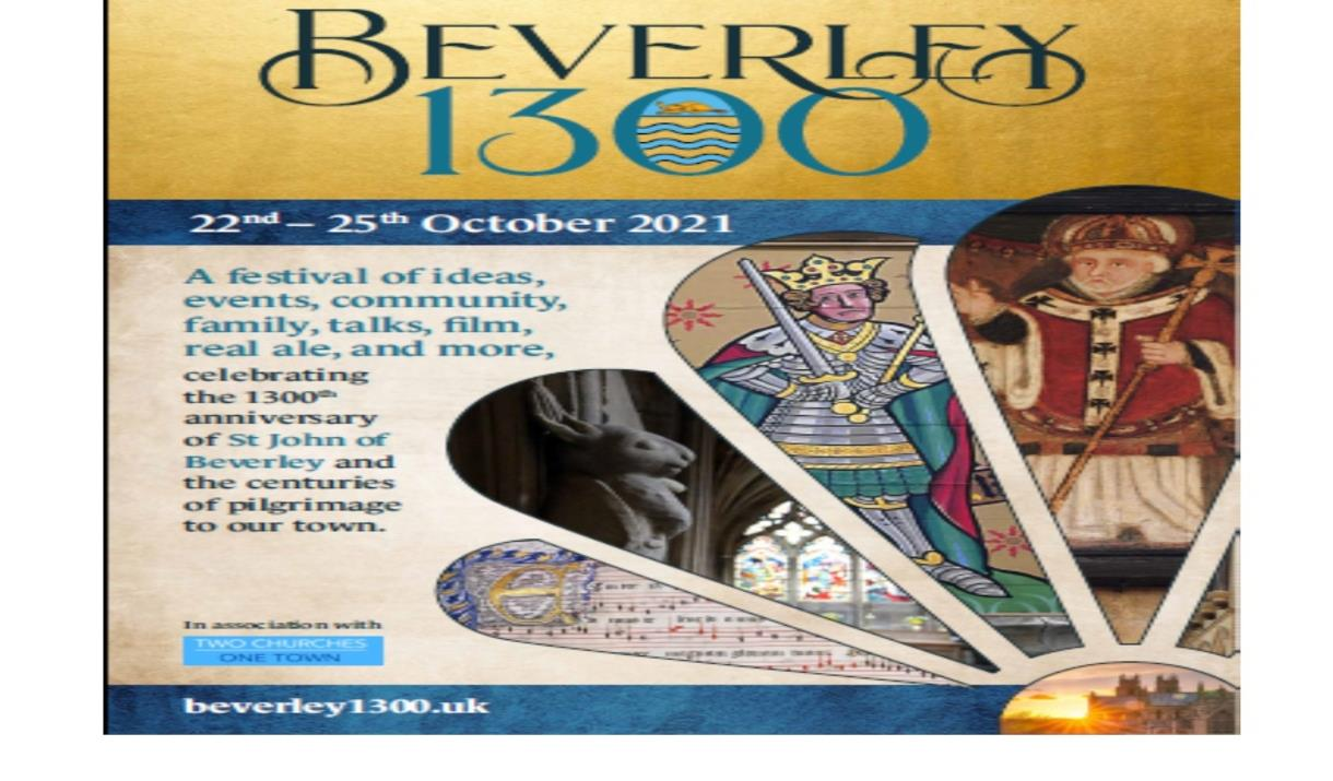 Beverley 1300 poster showing the stone rabbit and henry V