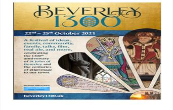 Poster for Beverley 1300 featuring the stone rabbit from St Mary's Church and Henry V