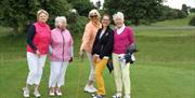 Ladies enjoying a game on the golf course at Beverley & East Riding Golf Club, in Beverley, East Yorkshire
