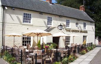 The frontage with seating area at the Green Dragon in East Yorkshire.