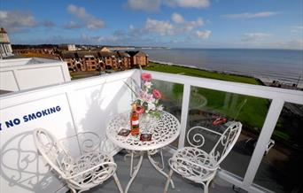 Looking to the sea from the balcony at The Alexandra Complex, Bridlington in East Yorkshire.