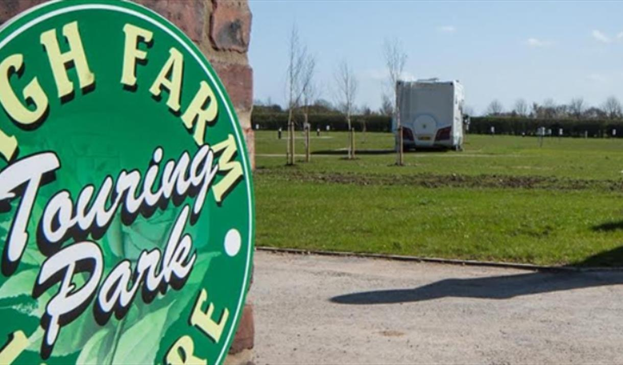 The sign at the entrance of High Farm Touring Park in East Yorkshire.