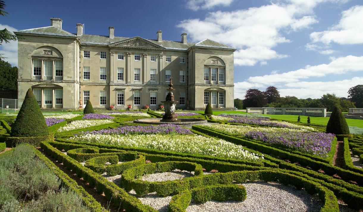The exterior and lovely gardens of Sledmere House in East Yorkshire.