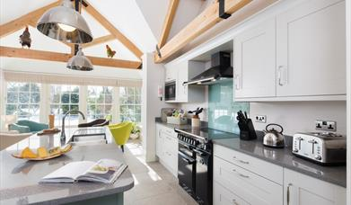 An image of the kitchen in Garden Cottage at Field House Farm Cottages in East Yorkshire.