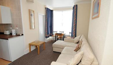 A seating area at Helena Holiday Flats in East Yorkshire.