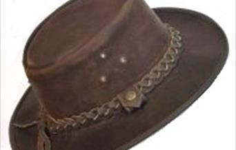 A brown suede cowboy hat from the Beverley Hat Company in East Yorkshire.