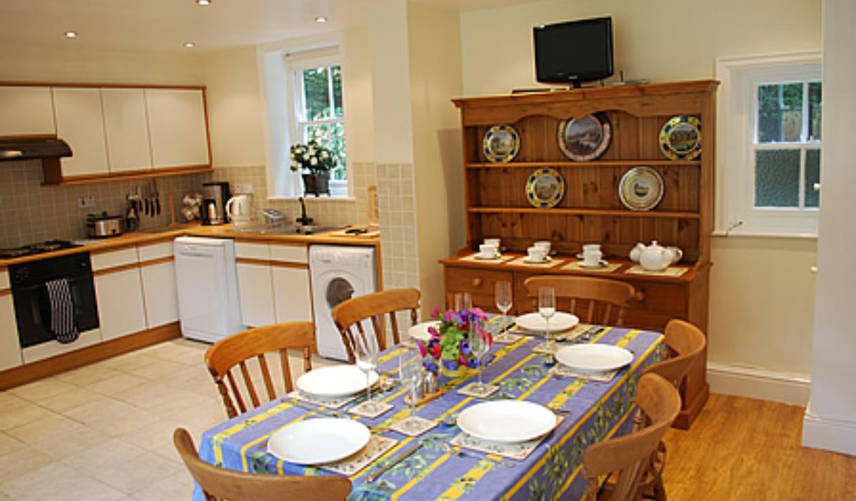 The kitchen and dining area at Laundry Cottage in East Yorkshire.