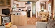The inside of a static caravan at Barmston Farm Holiday Park in East Yorkshire.